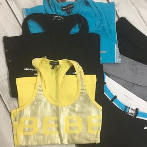 Bebe sport 6 pieces..bootie shorts & tanks..XS/S